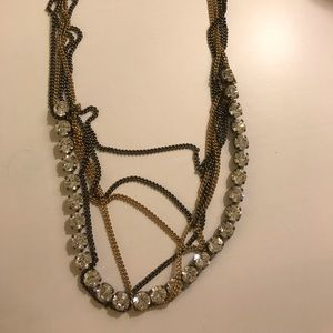 Sorrelli mimi necklace w/ clear crystals & chains